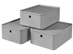 Curver Opbergbox Met Deksel Set Beton 3 St Maat M Lichtgrijs