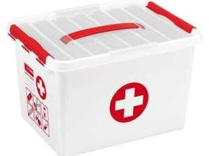 Stapelbare Q-line opbergbox EHBO 22 liter - wit/rood - 26x30x40 cm - Leen Bakker