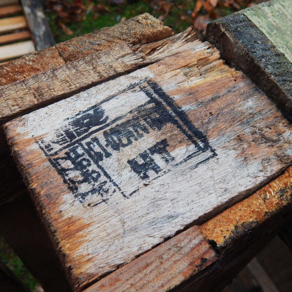 Close-up of pallet showing the HT stamp