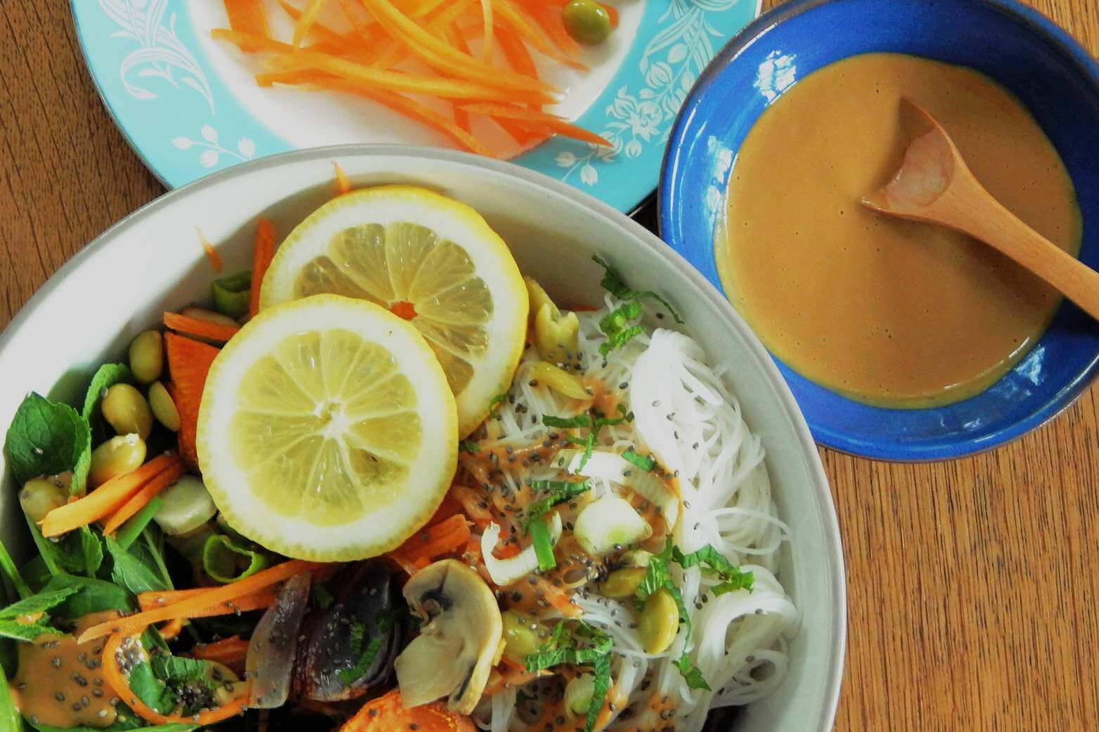 Macrobiotic style power bowl with a side of peanut dressing
