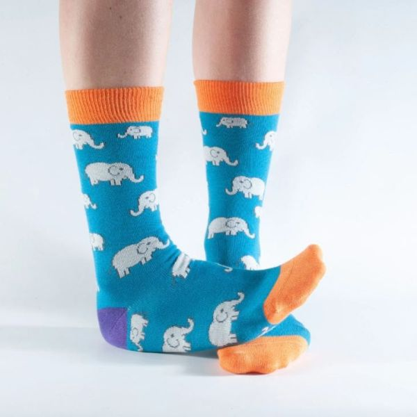 Bamboo Socks - Teal Elephant