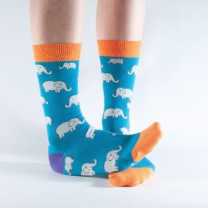 Bamboo Socks - Teal Elephant