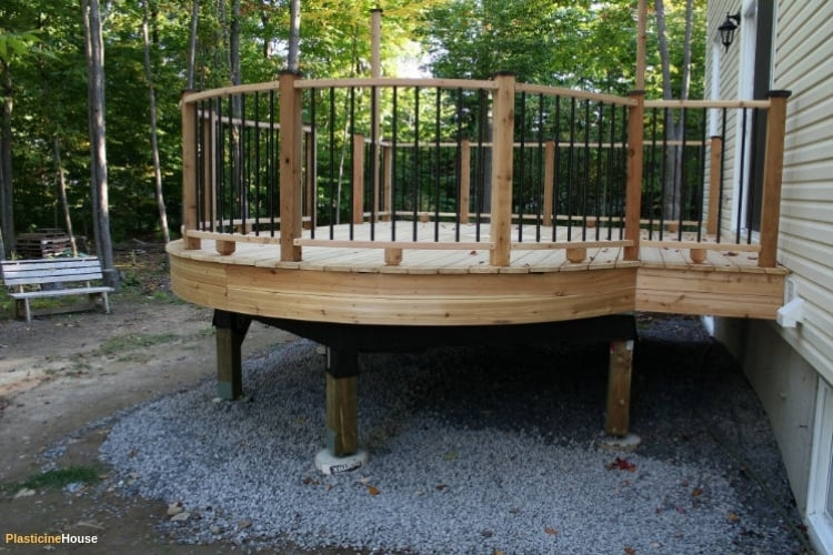 How To Build A Deck Step By Step Guide With Pictures | Half Moon Wood Steps | Wooden | Hexagon | Diy | Outside Corner Deck | Exterior