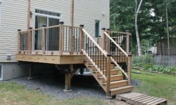 Do Deck Stairs Need Footings | Pressure Treated Deck Stairs | Flared | 5 Foot | Landing | Pre Built | Simple
