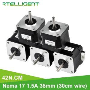 Motor paso a paso para impresora 3D XYZ, 42N.cm, Nema 17, 38mm, 42, Nema17, 42BYGH (59,5 oz.in), 5 uds.