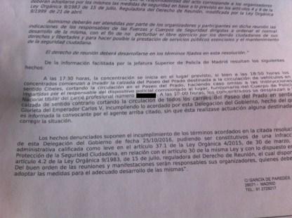 La Delegación del Gobierno multa a la Plataforma 7N