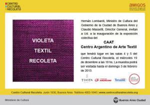 Invitación Violeta Textil Recoleta -