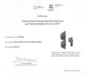 Certificado Excelencia WCC UNESCO 2014
