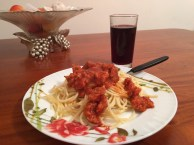 Spaghetti with chorizo and a Chilean Cab.