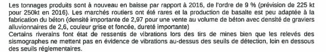 Extrait du rapport d'inspection de la carrière de Saint Julien de Coppel en 2017