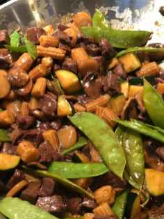 Beef and Snow Pea Stir Fry Upclose