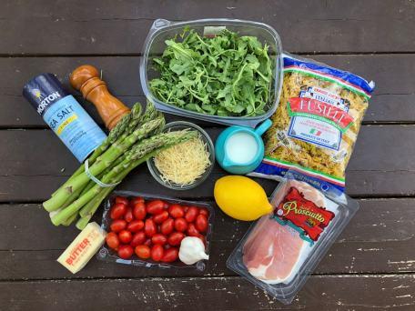 Ingredients for Summer Asparagus Pasta