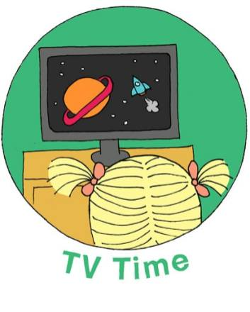 """illustration called """"TV Time"""" of child with pigtails watching a screen with planets and stars on it"""