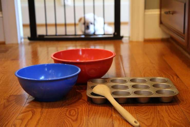 Baking utensils on kitchen floor