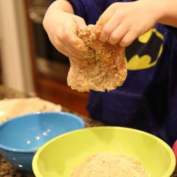 Child coating pork