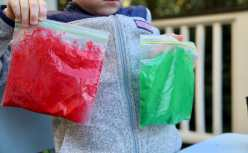 Bags of colored rice