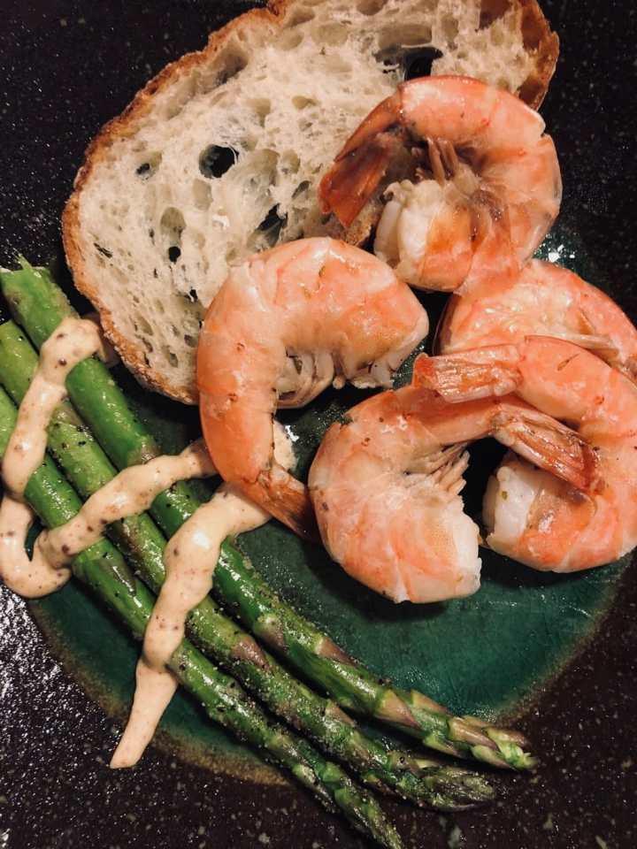 Lemon Shrimp and Asparagus plated
