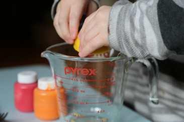juicing lemon for lemon volcano craft