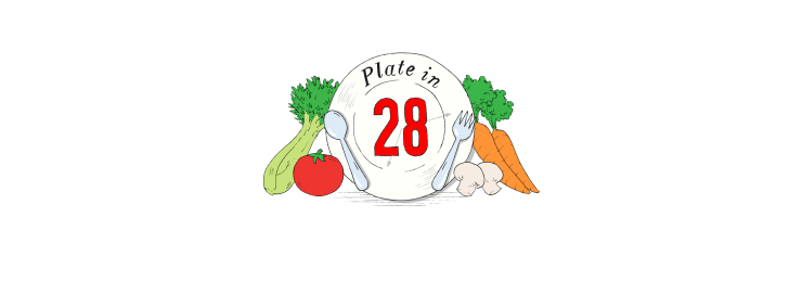 Platein28 Logo of a plate and vegetables