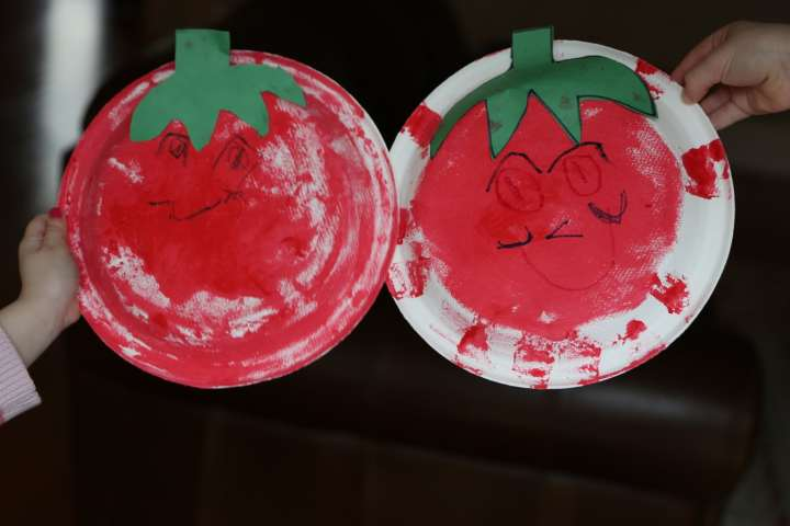 Two sponge art tomato plates