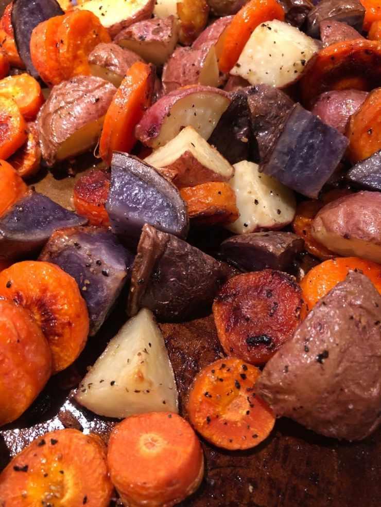 Roasted Garlic Potatoes & Carrots on baking sheet