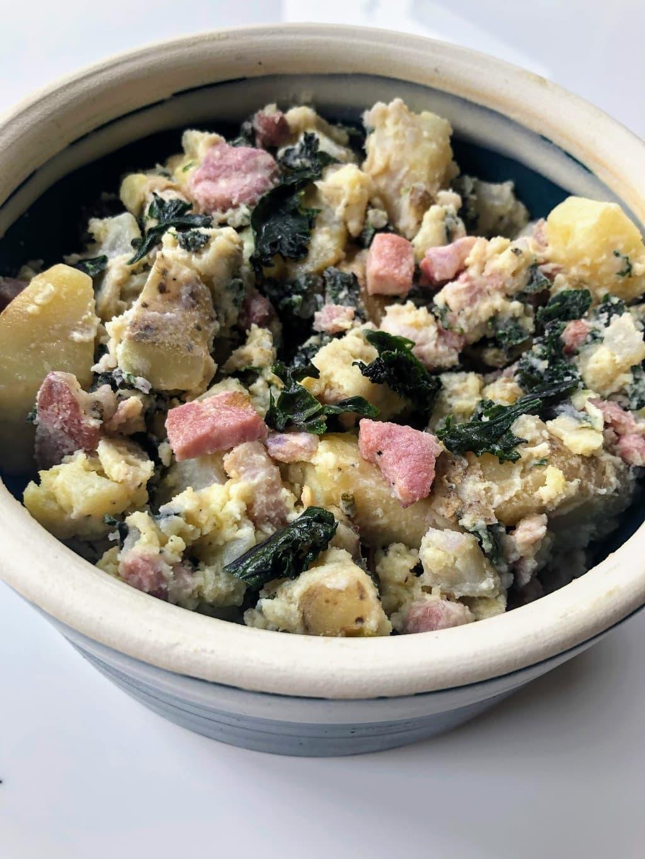 Potato, Kale & Pancetta Mash in a bowl