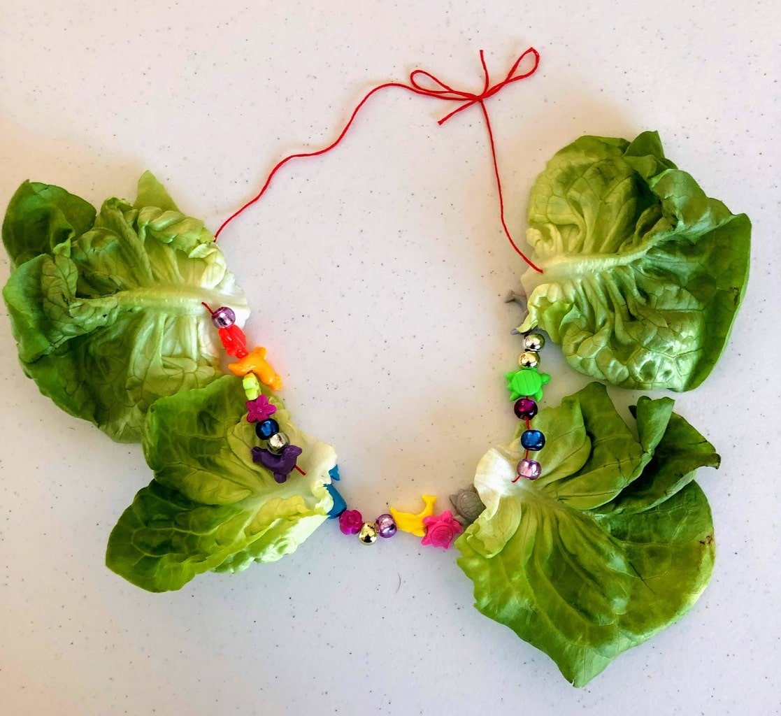 butter lettuce necklace laying on table