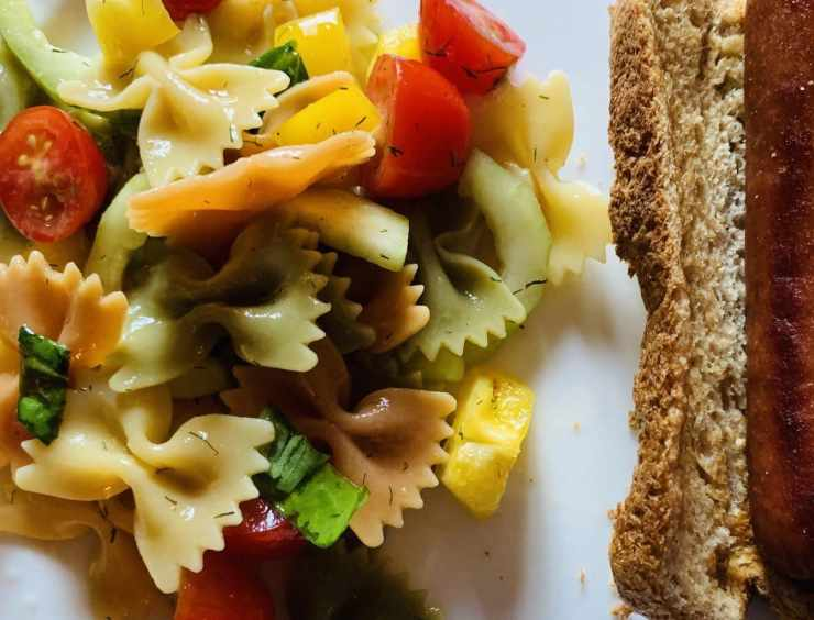 Bow Tie Pasta Salad with Hot Dog