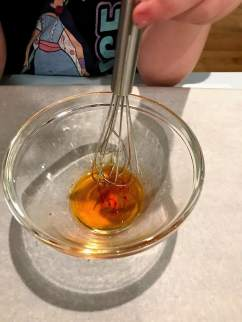 whisking color in bowl