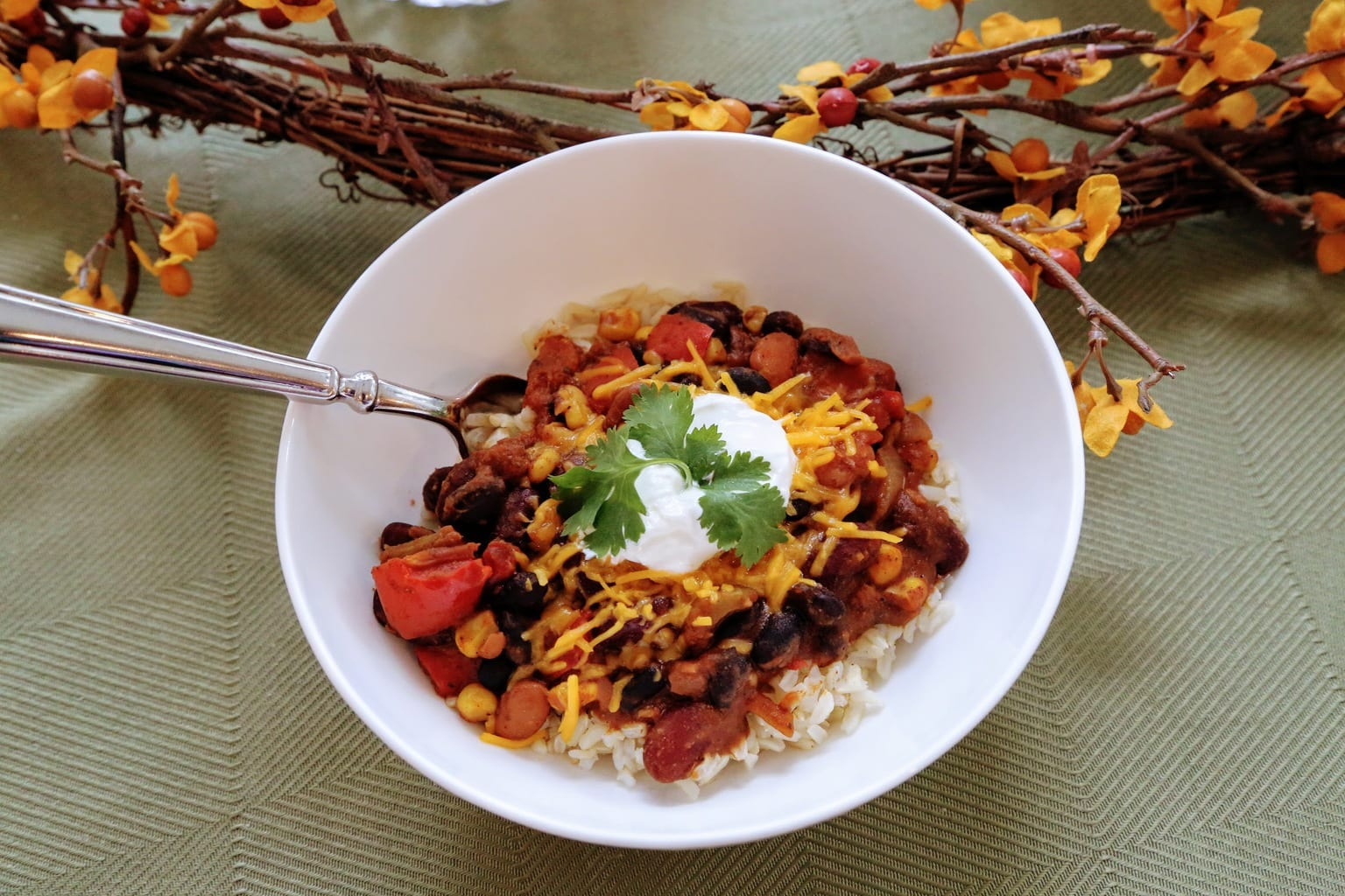 veggie chili in bowl