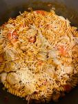One Pot Cheese Pasta with Chicken Sausage in pot