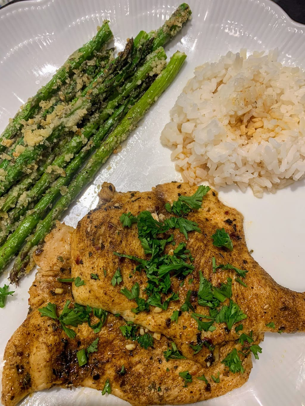 Lemon Butter Chicken with Roasted Parmesan Asparagus