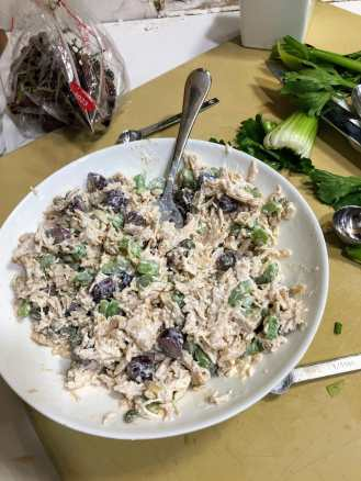 Bowk of mixed chicken salad