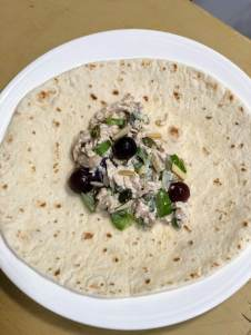 Scoop chicken salad into middle of tortilla