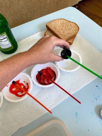 adding color gel to dish