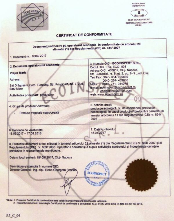certificat ecologic aronia
