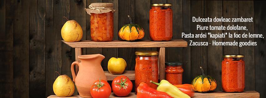 Conserve pentru iarnă din legume de la Ferma Noastră dulceaţă, piure de tomate, pastă de ardei, zacuscă