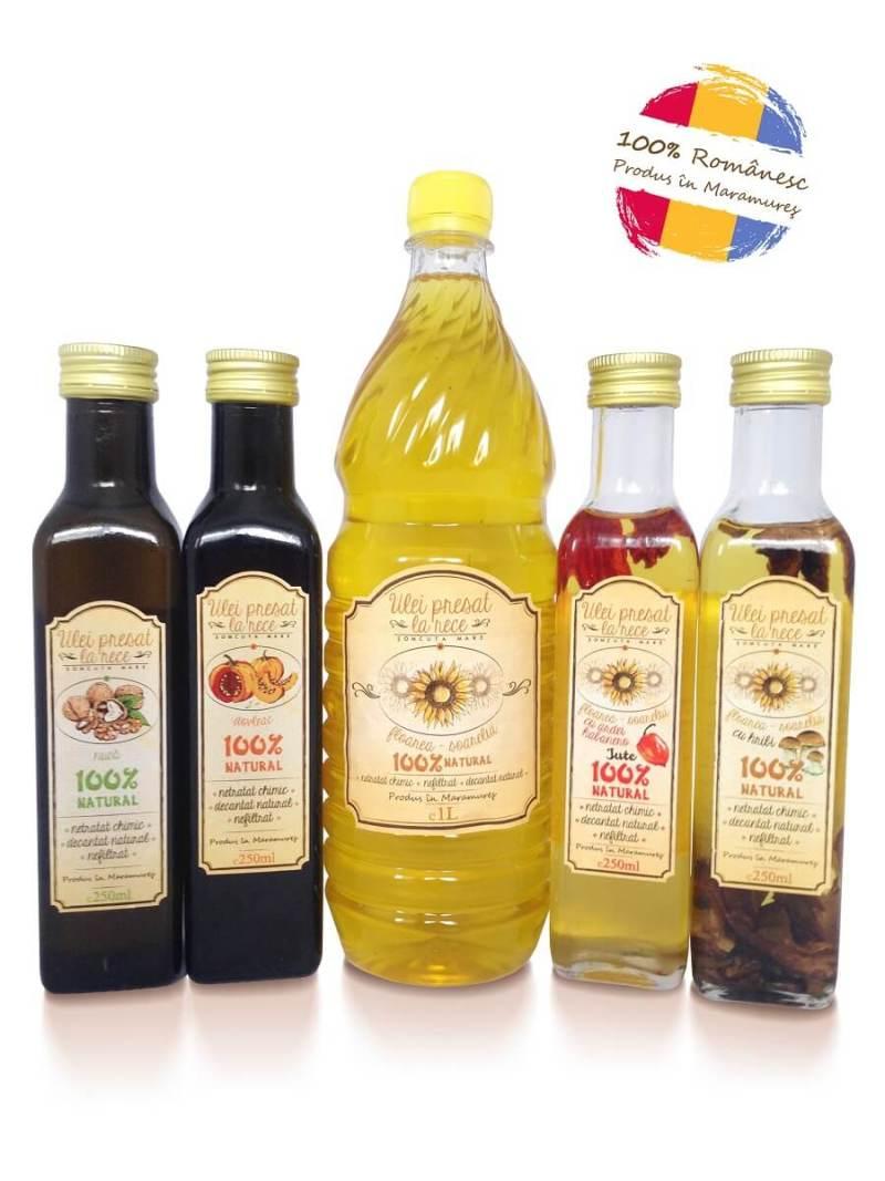 Ulei_de_Nuca_Dovleac_de_floarea_soarelui_cu_Habanero_Ciuperci, ulei presat la rece Somcuta