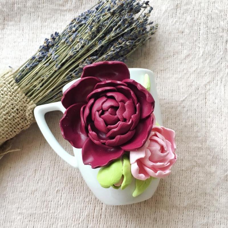 cana personalizata cu bujori, emblema florala a Romaniei, Accesorii Andreea Tret