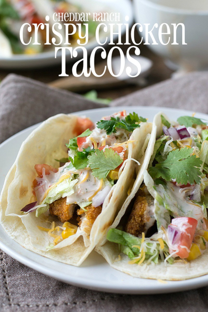 Short on time? Try this easy recipe for Cheddar Ranch Crispy Chicken Tacos ready in about 20 minutes! It will become a family favorite! #natureraisedrecipes