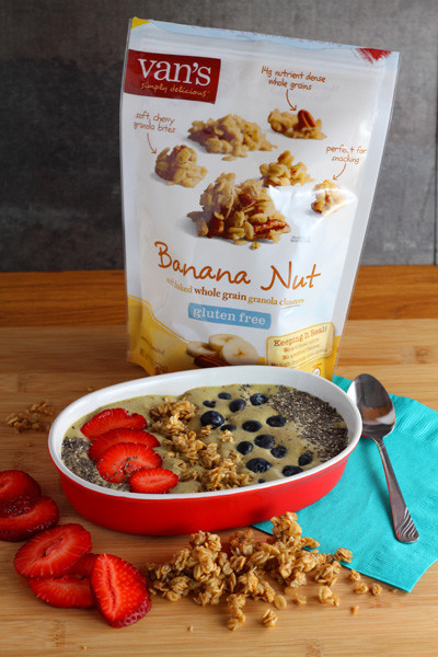 Strawberry Banana Nut Granola Green Smoothie Bowl featuring Van's Simply Delicious® Banana Nut Granola