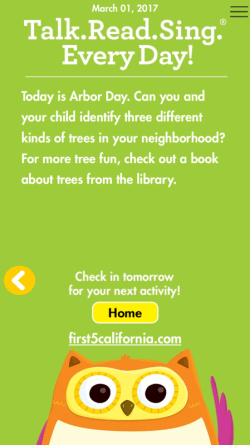 First 5 California Talk Read Sing app Arbor Day prompt for parents