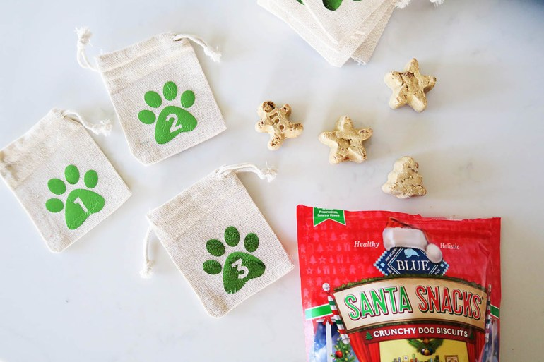 DIY dog advent calendar! Holiday shaped treats for each day leading up to Christmas