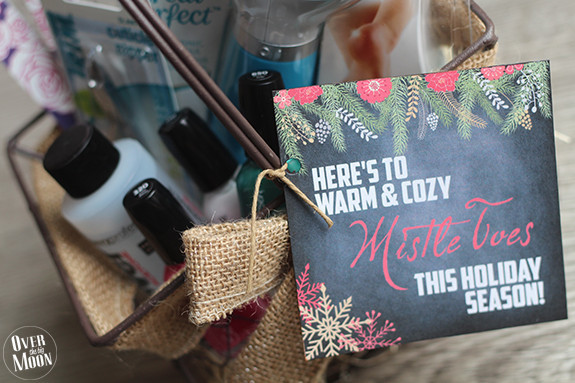 Pedicure Gift Idea w/ cute gift tag free printable! From www.overthebigmoon.com!