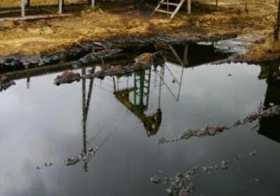 Contaminated water, Katangli prospect, Sakhalin. Credit: Sakhalin Environment Watch