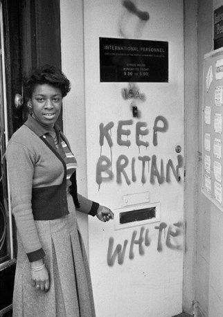 "'""Keep Britain white"" graffiti, Balham' by Neil Kenlock, 1972"