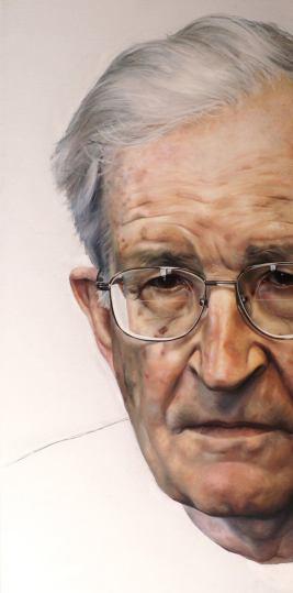 """Noam Chomsky, Oil on Canvas, 29"""" x 58"""", 2012, by Raoul Martinez"""