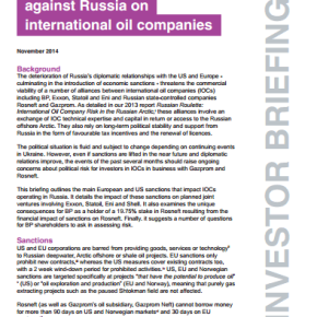 Russian Roulette. The impact of sanctions against Russia on international oil companies
