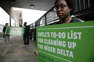Platform protest outside Shell UK shareholder meeting last year. Credit Martin Lesanto-Smith