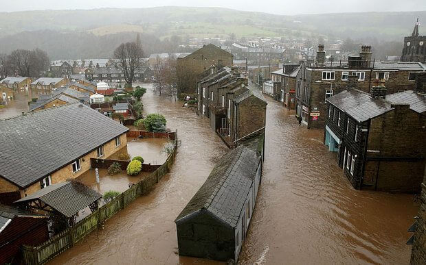 River Calder bursts its banks in Mytholmroyd
